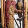 24. Bewcastle Cross (west face), bottom panel: Male figure with eagle - Alcfrith, donor or St John?